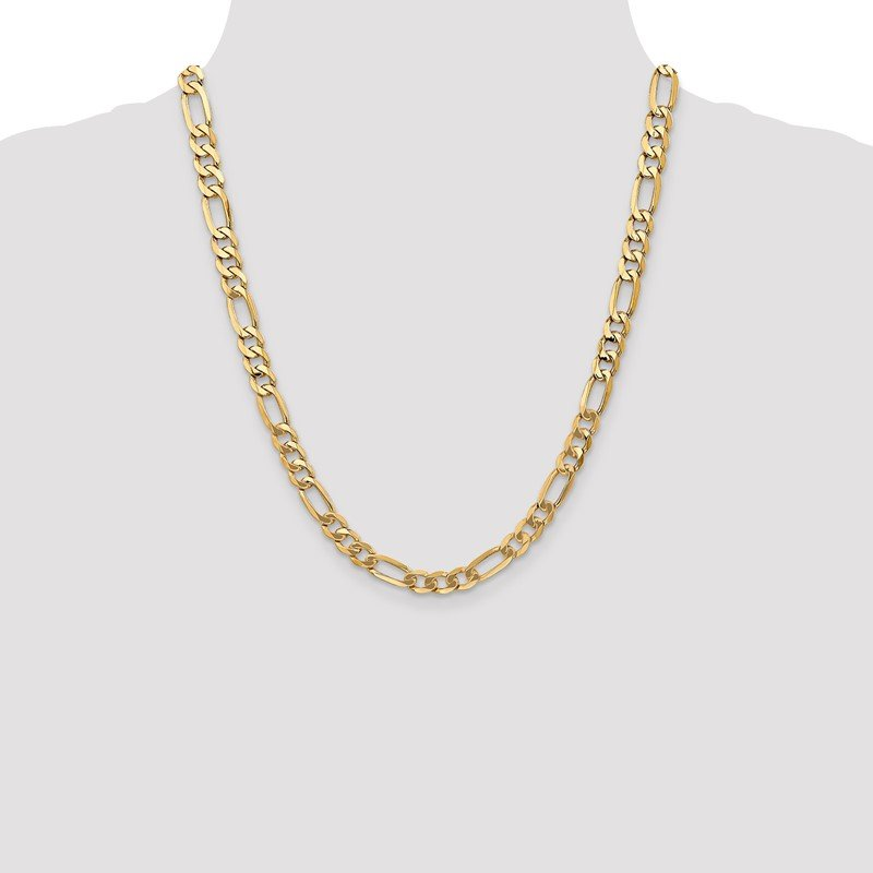 Quality Gold 14k 7mm Flat Figaro Chain
