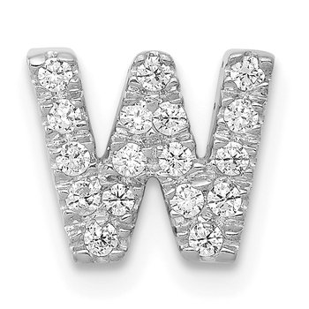 14K White Gold Diamond Letter W Initial Charm
