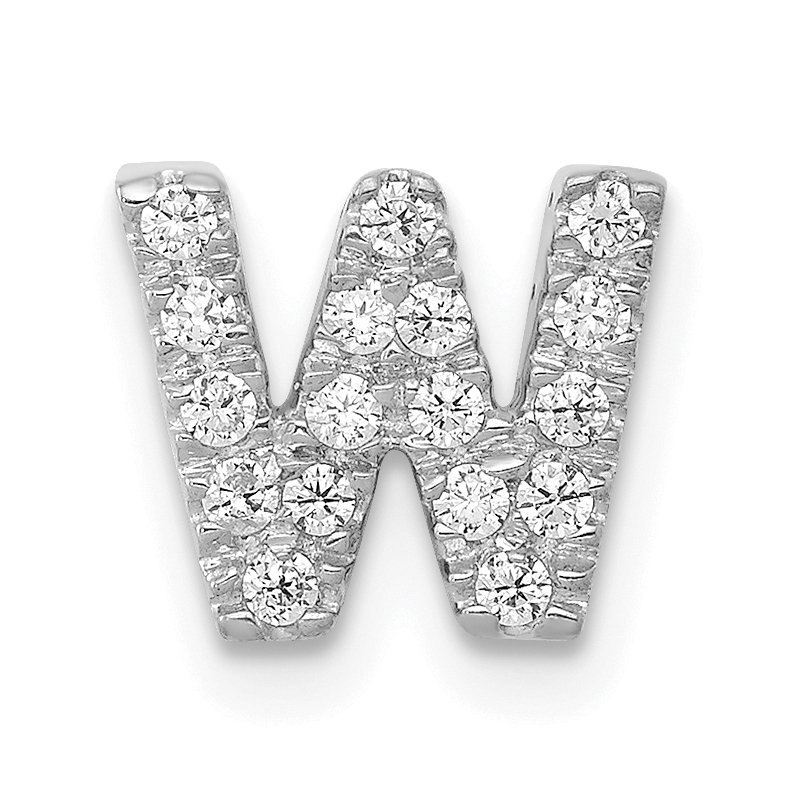 Quality Gold 14K White Gold Diamond Letter W Initial Charm