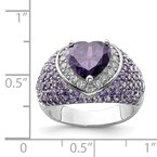 Quality Gold Sterling Silver Rhodium-plated Purple & Clear CZ Ring