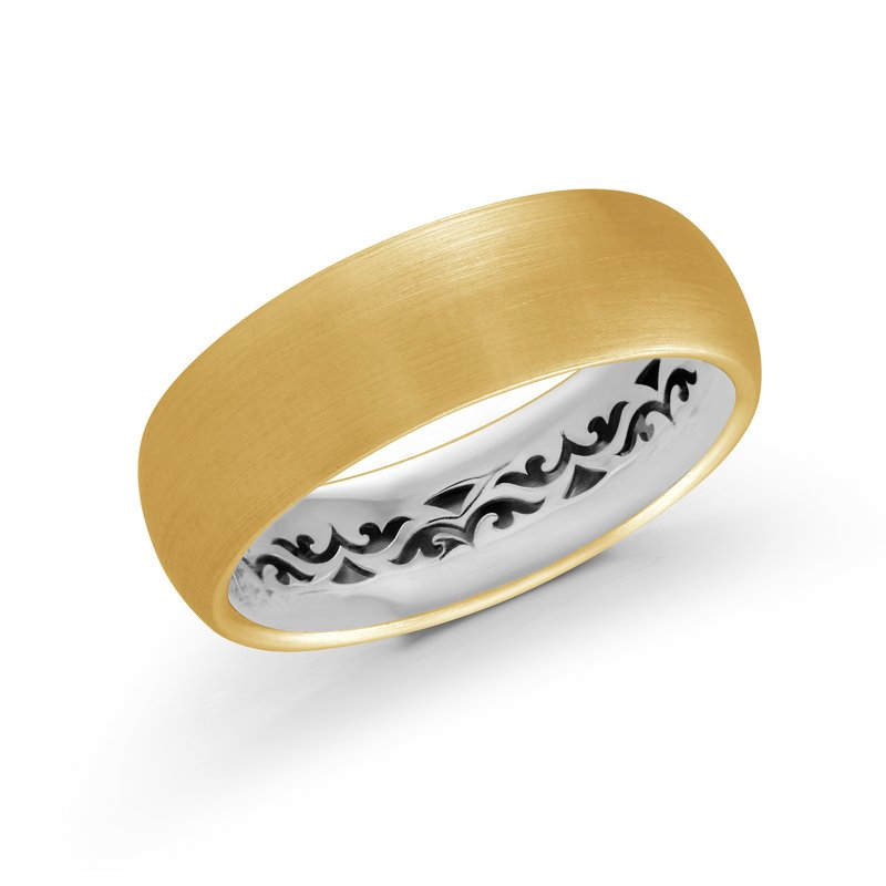 Mardini This 7mm treasure will add a touch of elegance with it's solid satin finish center all yellow gold exterior and mystic pattern cut out white gold interior.