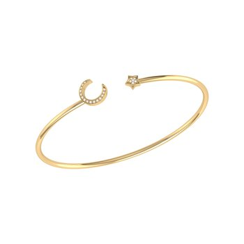 Moonlit Star Cuff in 14 KT Yellow Gold Vermeil on Sterling Silver