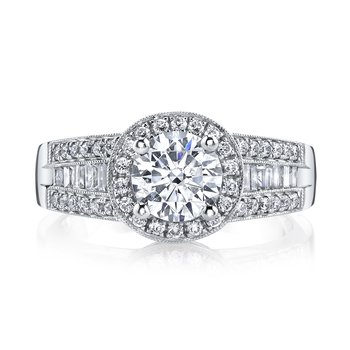 Diamond Engagement Ring 0.32 ct rd, 0.28 ct bg