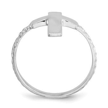 14k White Gold Polished Textured Cross Ring
