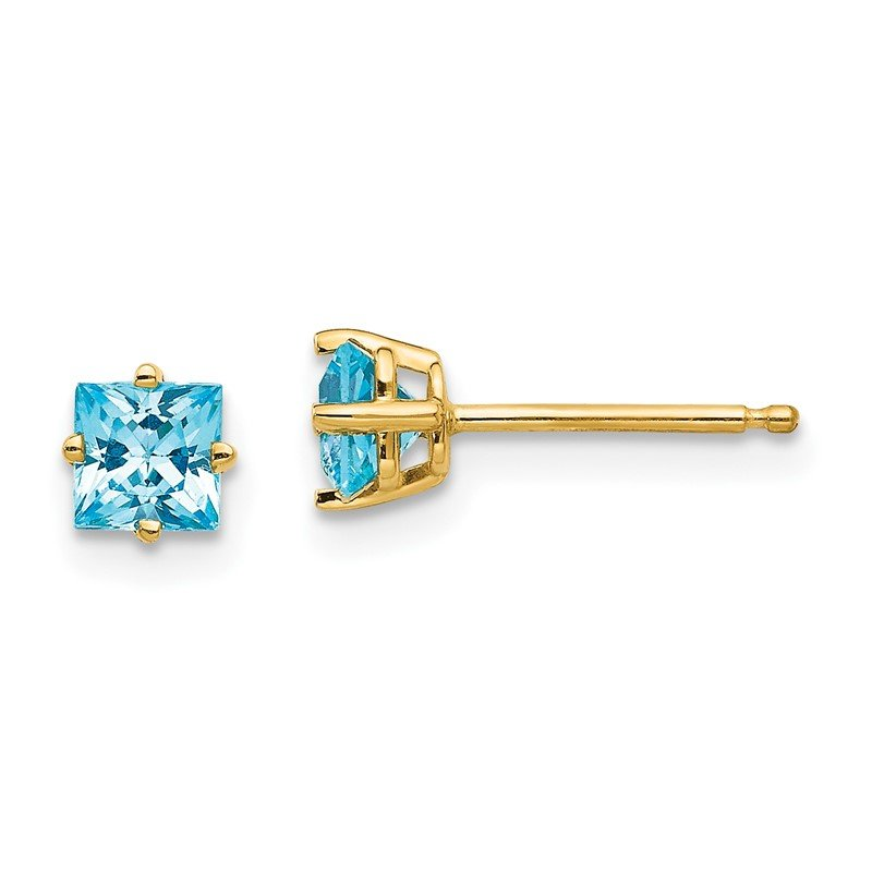 Quality Gold 14k 4mm Princess Cut Blue Topaz Earrings