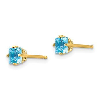 14k 4mm Princess Cut Blue Topaz Earrings