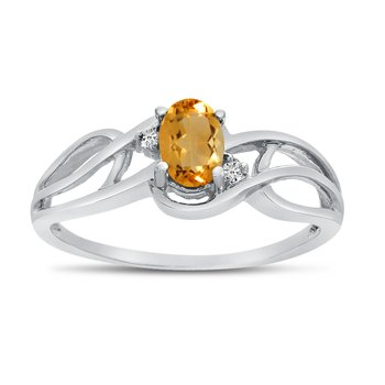14k White Gold Oval Citrine And Diamond Curve Ring