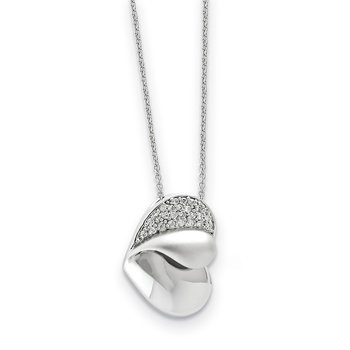 Sterling Silver CZ Glimpse of my Heart 18in Heart Necklace