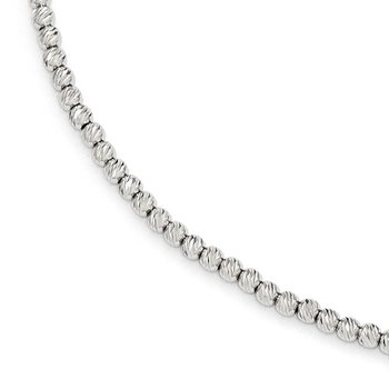 Leslie's 14K White Gold D/C Beaded Bracelet