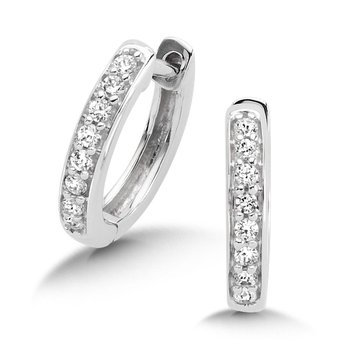 Pave set Diamond Huggy Hoops in 14k White Gold (1/7 ct. tw.) JK/I1