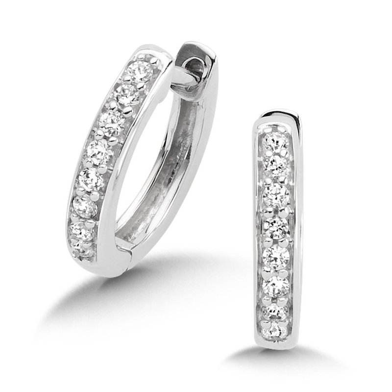 SDC Creations Pave set Diamond Huggy Hoops in 14k White Gold (1/7 ct. tw.) JK/I1