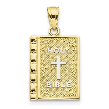 10K w/Rhodium Holy Bible Charm