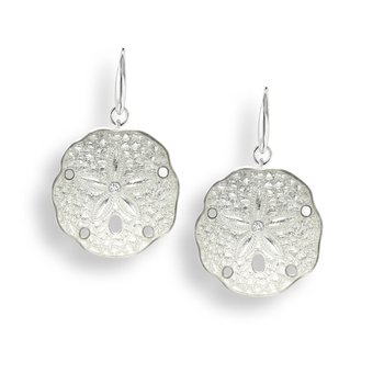 White Sand Dollar Wire Earrings.Sterling Silver-White Sapphires