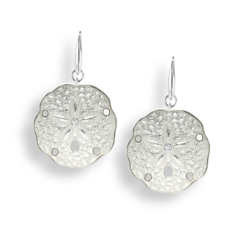 Nicole Barr Designs White Sand Dollar Wire Earrings.Sterling Silver-White Sapphires