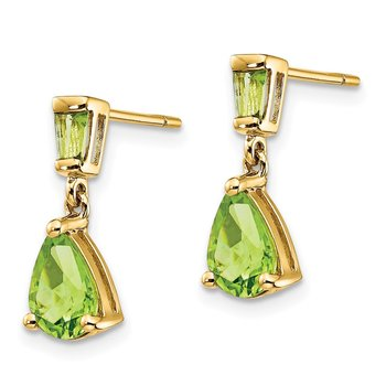 14k Gold Peridot Dangle Post Earrings