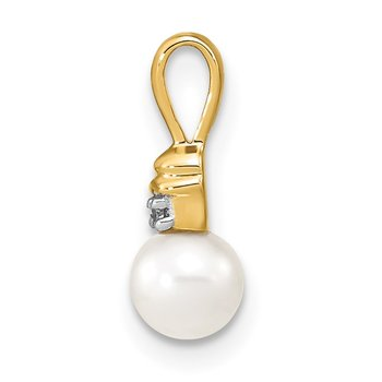 14k 5-6mm White Round FW Cultured Pearl and Diamond Pendant