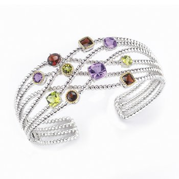 Sterling Silver and 14K Yellow Gold Bangle with Semi-Precious Stones