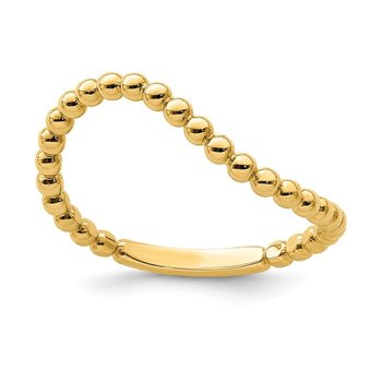 14K Beaded Waved Ring