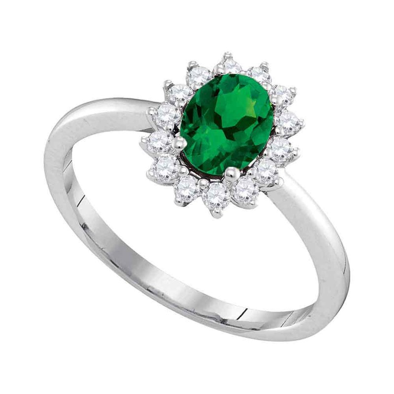 Kingdom Treasures 14kt White Gold Womens Oval Emerald Solitaire Diamond Ring 7/8 Cttw
