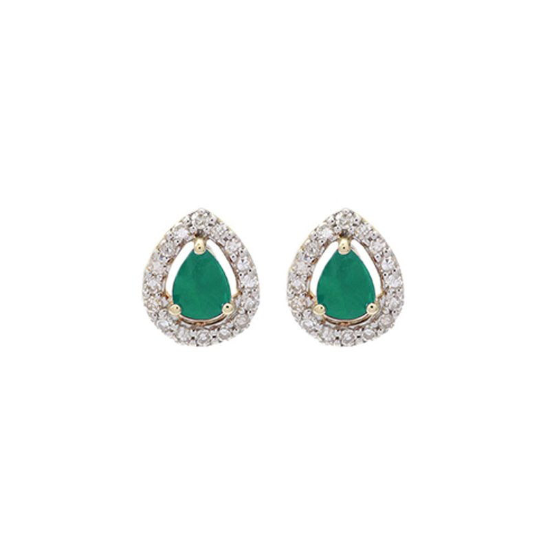 Calvin Broyles Diamond Halo and Emerald Prong Set Earrings in 10K White Gold (1/250 ct. tw.)