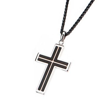 Black Plated and Rose Gold Plated Cross Pendant & Steel Frame Pendant with Matte Black Round Wheat Chain