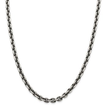 Sterling Silver Antiqued 7.0mm D/C Elongated Open Link Chain