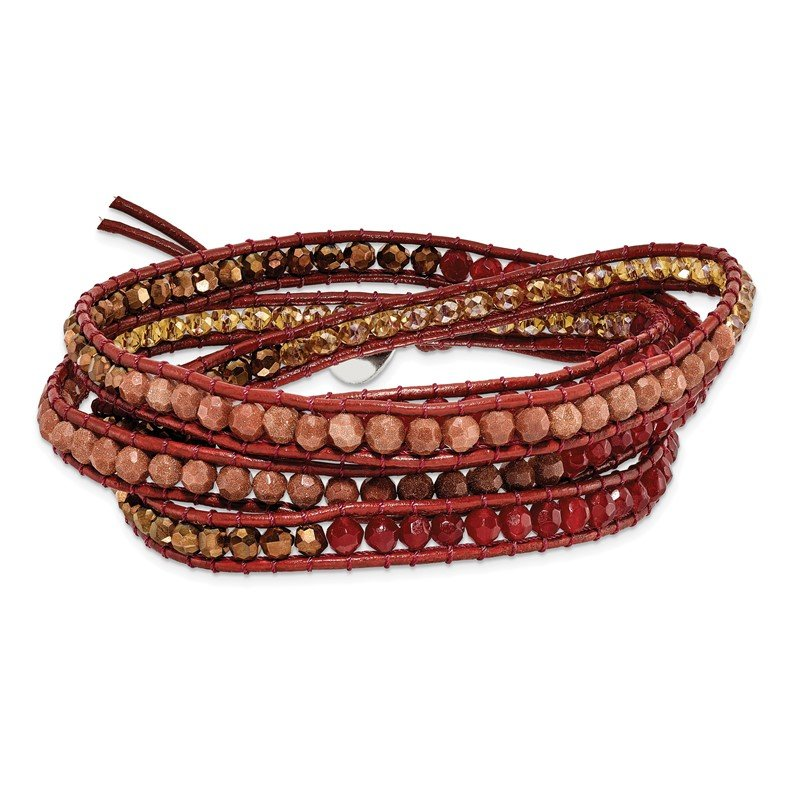 Quality Gold Crystal/Red Quartz/ Red Sand Stone/Leather Multi-wrap Bracelet
