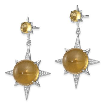 Sterling Silver Rhod-plated Brown Glass and CZ Sunburst Post Earrings