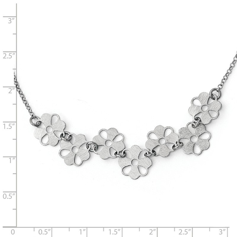 Leslie's Leslie's Sterling Silver Brushed Flower Necklace