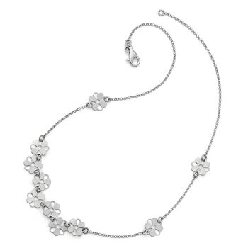 Leslie's Sterling Silver Brushed Flower Necklace