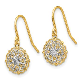 14k & Rhodium Polished and Textured Dangle Earrings