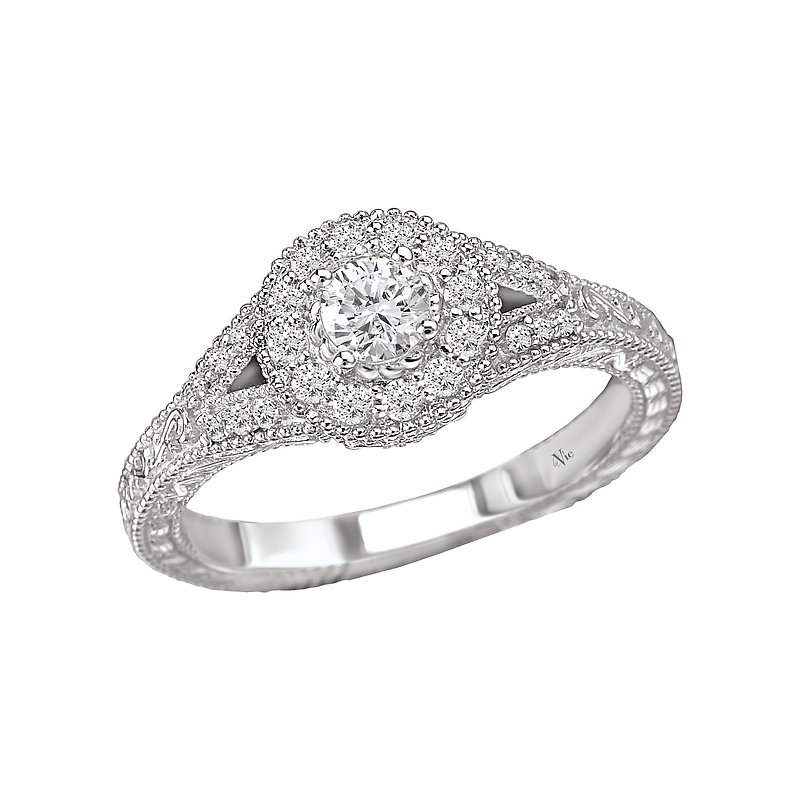 LaVie Split Shank Halo Diamond Ring