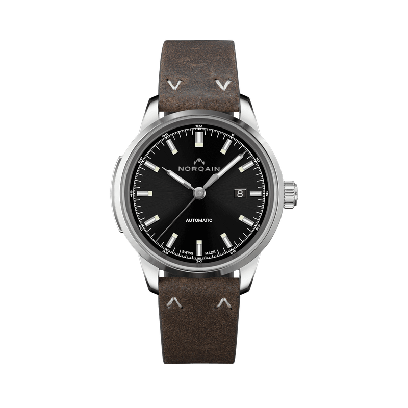 Norqain Freedom 60 - Black Dial Leather Strap Watch