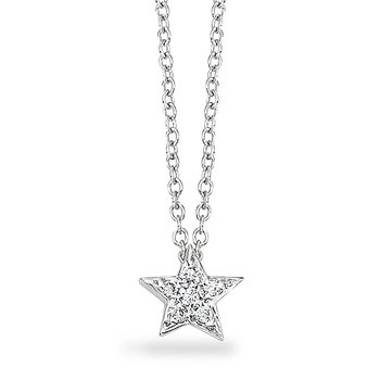 Diamond Small Star Necklace in 14k White Gold with 6 Diamonds weighing .05ct tw.