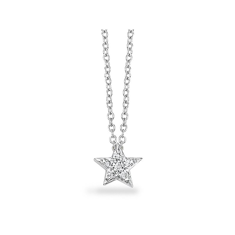 KC Designs Diamond Small Star Necklace in 14k White Gold with 6 Diamonds weighing .05ct tw.