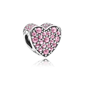 Pink Dazzling Heart Charm, Pink CZ