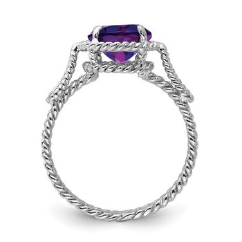 Sterling Silver Rhodium-plated Amethyst Twisted Circle Ring