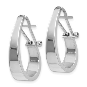 14k White Gold Polished 6mm Tapered Fancy J-Hoop Earrings