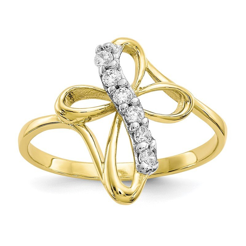Quality Gold 10k CZ Cross Ring