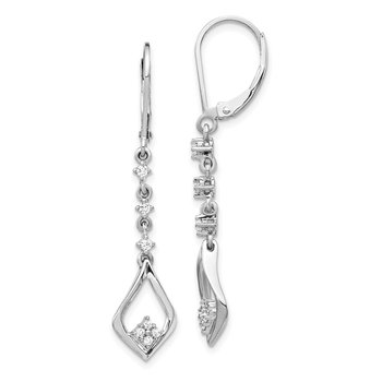 14k White Gold Diamond Leverback Dangle Earrings