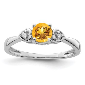 Sterling Silver Rhodium Plated Diamond and Citrine Round Ring