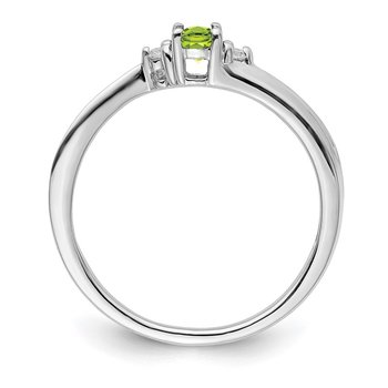 Sterling Silver Rhodium-plated Peridot Birthstone Ring