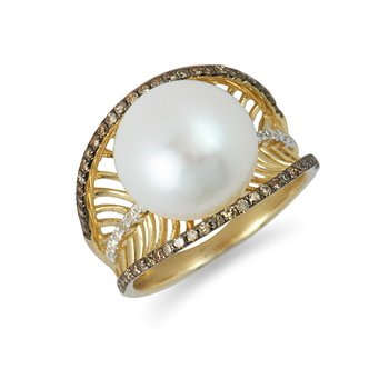 14K YG Champagne Dia and Button Pearl Ring