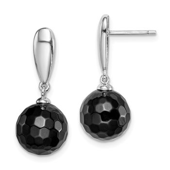 Sterling Silver Rhodium-plated Faceted 10mm Onyx Dangle Post Earrings