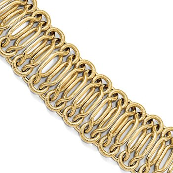 Leslie's 14K Polished Textured Bracelet