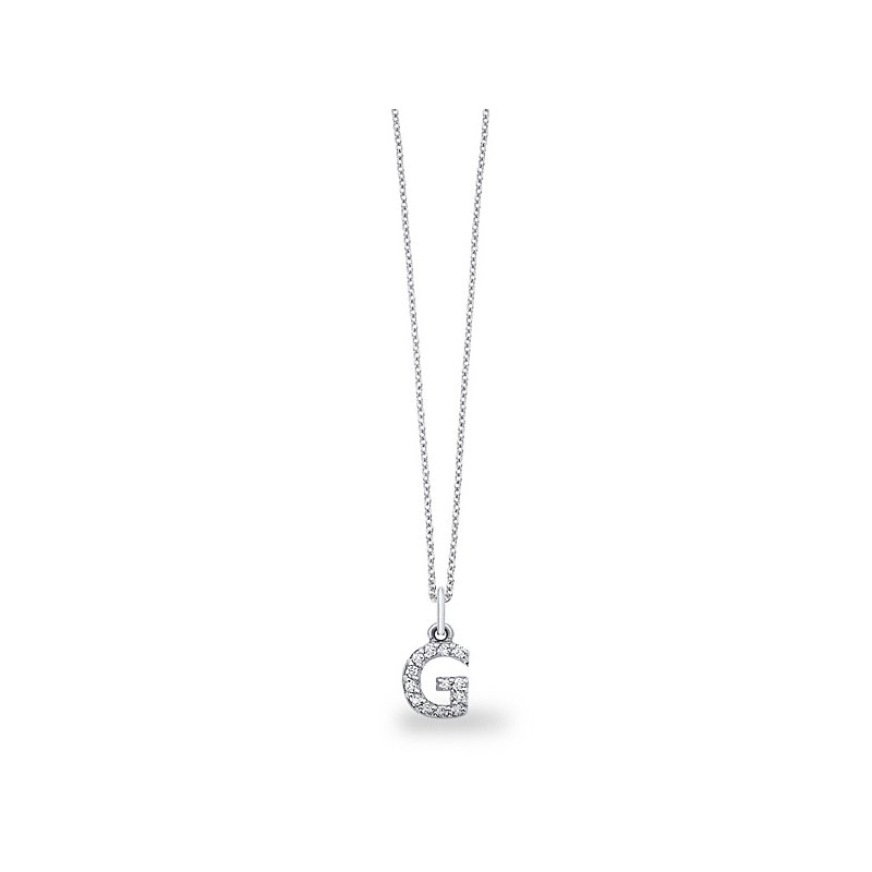 "KC Designs Diamond Baby Block Initial ""G"" Necklace in 14k White Gold with 13 Diamonds weighing .11ct tw."