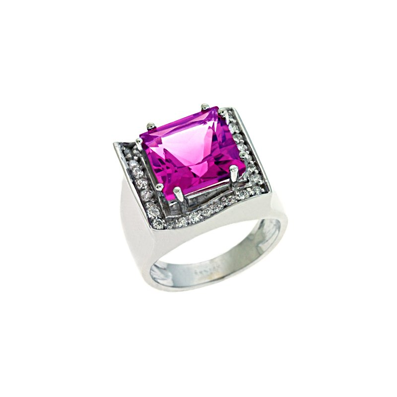 S. Kashi  & Sons Pink Tourmaline & Diamond Ring