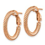 Quality Gold 14k 3x15mm Rose Gold Twisted Round Omega Back Hoop Earrings