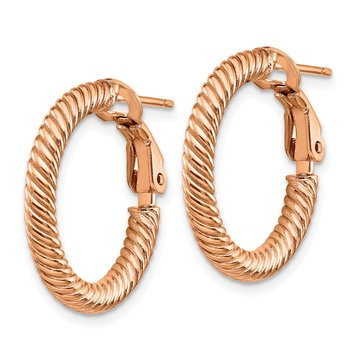 14k 3x15mm Rose Gold Twisted Round Omega Back Hoop Earrings