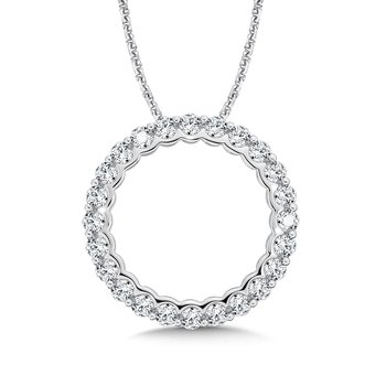 Round Diamond Pendant in 14K White Gold